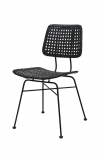 cutout Image of the black Modern Woven Rattan Dining Chair on a white background