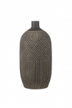 cutout Image of the Black African Ceramic Bottle Vase on a white background