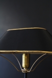 detail image of shade on Black & Gold Table Lamp with dark wall background