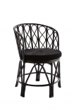 cutout image of Black Bamboo Chair With Velvet Seat Pad on white background