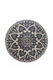 cutout image of Black Mandala Pattern Natural Jute Circular Rug on white background