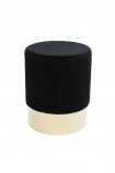 cutout image of Black Velvet Pouffe Stool With Gold Base - Small on white background