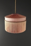 Image of the Bespoke Blush Pink Silk Tiffany Lamp Shade with straight fringe
