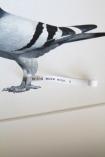 detail image of letter on foot on Pigeon Post Messenger - Bring More Wine. X Art Work By Brigitte Herrod