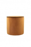cutout image of Burnt Orange Pouffe With Chocolate Brown Piping on white background