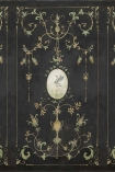 Close-up image of the Chinoiserie Panel Wallpaper Mural - Mirto Coal
