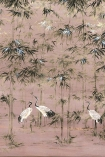 Close-up detail image of the Chinoiserie Wallpaper Mural - Garzas Rose Pink