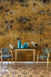 Lifestyle image of the Chinoiserie Wallpaper Mural - Garzas Chai