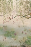 Close-up detail image of the Chinoiserie Wallpaper Mural - Lotus Aloe