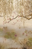 Close-up detail image of the Chinoiserie Wallpaper Mural - Lotus Clow