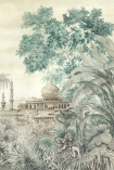 Close-up detail image of the Chinoiserie Wallpaper Mural - Taj Mahal Maca