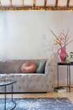 Stone Grey Suede Buttoned 2 Seater Sofa