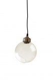 cutout image of Clear angled glass sphere pendant ceiling light on white background