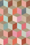 detail Image of Mind The Gap Coloured Geometry Wallpaper pink, blue and grey toned cube repeated pattern