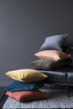 lifestyle image of all Glorious Velvet Cushion's with grey rug and dark grey wall background