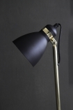 detail image of head on Polished Brass, Concrete & Black Shade Floor Lamp with dark wall background