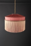 Image of the Bespoke Coral Hibiscus Silk Tiffany Lamp Shade with straight fringe