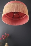 Image from below the Bespoke Coral Hibiscus Silk Tiffany Lamp Shade with straight fringe looking up inside