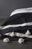 Cotton Pom Pom Blanket 200x300cm - Black With Natural Pom Poms
