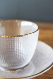 detail image of Clear Glass Cup & Saucer on wooden table