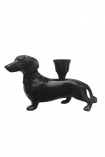 cutout Image of Dachshund Sausage Dog Candle Holder on a white background side on