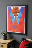 Side-view lifestyle image of the Unframed A Clockwork Bowie Art Print in a frame