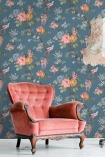 Lifestyle image of the Dawn Chorus Ink Blue Wallpaper by Pearl Lowe