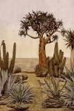 Close-up detail image of the Desert Landscape Wallpaper Mural - Meiji Rose Pink