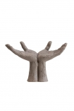 cutout Image of the Distressed Stone Effect Open Hands Ornament on a white background