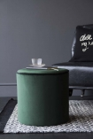 Emerald Green Pouffe With Black Piping