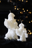 Image of the small and large Father Christmas with Reindeer Candle