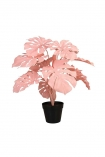 Image of the Large Pink Faux Monstera House Plant on a white background