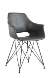 Faux Leather Dining Chair With Black Hairpin Legs - Charcoal Grey