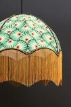 detail image of Anna Hayman Designs DecoFabulous Green & Orange Palm Print Pendant Shade with dark wall background
