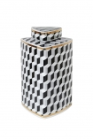 Cutout Image of the short Geometric Monochrome Storage Jar with Gold Detail on a white background