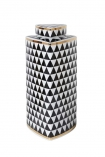 cutout Image of the tall Geometric Monochrome Storage Jar with Gold Detail on a white background