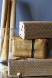 detail image of Set Of 15 Sheets Of Hand Made Glitter Gift Wrap - Gold wrapped presents