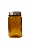 cutout image of Loot amber recycled glass storage jar on a white background