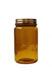 cutout image of Stash amber recycled glass storage jar on a white background
