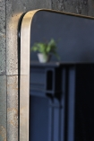 detail image of Gold Framed Mirror with black fireplace and plant in reflection on antique mirror wallpaper
