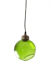 Angled glass sphere pendant ceiling light in green on white background