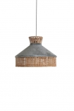 cutout Image of Silver Grey Velvet & Rattan Pendant Ceiling Light on a white background