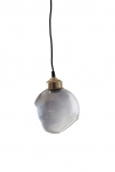 Smoke angled glass sphere pendant ceiling light on white background