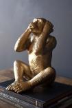 Large Hear No Evil Gold Monkey Ornament