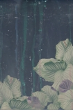 detail image of Elli Popp Issey - Nymph on the Waters Wallpaper - Green large green and purple flowers on dark blue background and green dripping effect