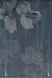 detail image of Elli Popp Issey - Nymph on the Waters Wallpaper - Grey large grey flowers on dark blue background and teal dripping effect