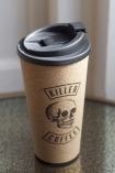 Close-up image of the Killer Coffee Reusable Cork Coffee Cup