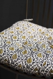 Image of the Olive Green Leaf Seat Pad Chair Cushion on a chair