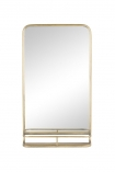 cutout Image of the Light Gold Tall Bathroom Mirror With Shelf on a white background