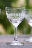 lifestyle image of Set Of 6 Vintage Style Crystal Liqueur Glasses - Ovals on wooden table with garden setting background